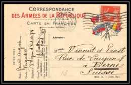 42367 Carte Postale En Franchise 1915 Pour Etranger Bernes Suisse Complement 10c Secteur Guerre 1914/1918 War Postcard - Marcophilie (Lettres)