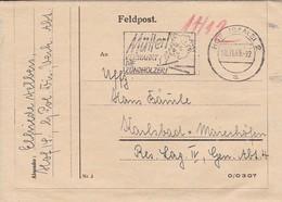 Feldpost Kartenbrief - Hof/Saale Nach Res. Laz. IV Karlsbad - Werbestempel Mütter Verwahrt Die Zündhölzer - 1943 (46220) - Deutschland