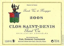 Etiquette Clos Saint Denis 2008 Domaine Castagnier - Bourgogne