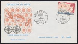 NIGER (1973) Bees. Honeycomb. Unaddressed FDC With Cachet. Scott No 294. World Savings Day. - Api