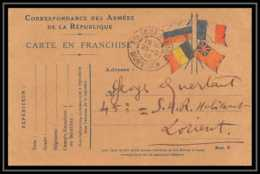42508 Carte Postale En Franchise 4 Drapeaux St Anne D'auray 1915 Morbihan Guerre 1914/1918 War Postcard - Marcophilie (Lettres)