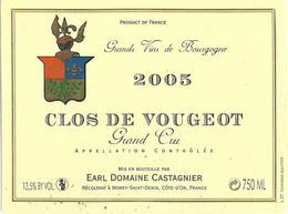 Etiquette Clos Vougeot 2005 Domaine Castagnier - Bourgogne