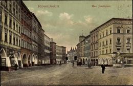 Cp Rosenheim Im Alpenvorland Oberbayern, Straßenpartie Am Max Josefsplatz, Geschäfte, Brunnen - Alemania