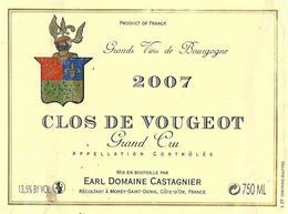 Etiquette Clos Vougeot 2007 Domaine Castagnier - Bourgogne