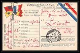 42540 Carte Postale En Franchise 4 Drapeaux à Gauche Aix En Provence 1914 45ème Infanteri Guerre 1914/1918 War Postcard - Marcophilie (Lettres)