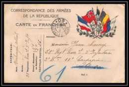 42553 Carte Postale En Franchise 5 Drapeaux à Droite Secteur 60 Guerre 1914/1918 War Postcard - Marcophilie (Lettres)