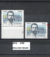 Variété De 2013 Neuf** Y&T  N°  4799 Bleu-clair Décalé - Errors & Oddities