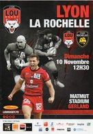 Programme Du Match De Top 14  LYON / LA ROCHELLE Du 10 Novembre 2019 - Rugby