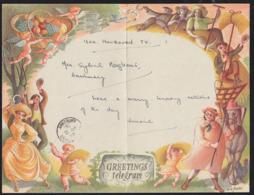 GREAT BRITAIN (1952) Cherubs Carrying Basket Of Fruit. Farmers Celebrating Harvest. Beautiful Multicolor Telegram (used) - Altri