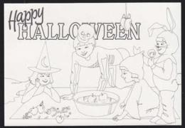 IRELAND (1990) Children Dressed In Halloween Costumes Bobbing For Apples. 15p Ilustrated Postal Card (used). - Interi Postali