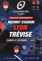 Programme Du Match De Champions Cup  LYON / TREVISE Du 7 Décembre 2019 - Rugby