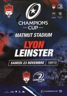 Programme Du Match De Champions Cup  LYON / LEINSTER Du 23 Novembre 2019 - Rugby