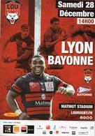 Programme Du Match De Top 14  LYON / BAYONNE Du 28 Décembre 2019 - Rugby
