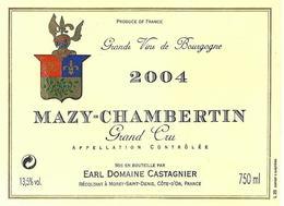 Etiquette Mazy Chambertin Domaine Castagnier 2004 - Bourgogne