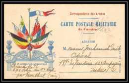 43147 Carte Postale En Franchise 7 Drapeaux Couleurs Gauche 6ème Artillerie 1918 Guerre 1914/1918 War Postcard - Marcophilie (Lettres)