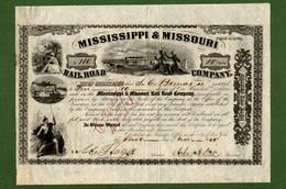 T-USA Mississippi & Missouri Rail Road 1856 SIGNED John A. Dix CIVIL WAR - Chemin De Fer & Tramway