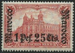 DP IN MAROKKO 43 *, 1906, 1 P. 25 C. Auf 1 M., Mit Wz., Falzrest, Pracht, Mi. 80.- - Deutsche Post In Marokko