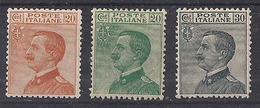 REGNO D'ITALIA 1925 TIPO DEL 1908 CON FILIGRANA CORONA SASS. 183-184  MNH XF - 1900-44 Victor Emmanuel III