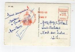 Marcophilie EMA - K-0930 - 08 - 1957 - Paris VII - Souvenir Du Sommet De La Tour Eiffel - Marcophilie (Lettres)