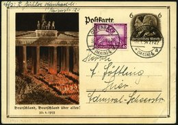Dt. Reich 507 BRIEF, 1933, 40 Pf. Wagner, Prachtstück Auf überfrankierter Postkarte, Mi. (170.-) - Gebraucht
