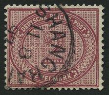 DP CHINA V 37eV O, 1891, 2 M. Dkl`rotkarmin Mit Abart Große Unterbrechung In Der Guilloche Unten Links, Stempel SHANGHAI - Deutsche Post In China