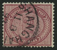DP CHINA V 37eV O, 1891, 2 M. Dkl`rotkarmin Mit Abart Große Unterbrechung In Der Guilloche Unten Links, Stempel SHANGHAI - Bureau: Chine