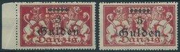 FREIE STADT DANZIG 191/2 **, 1923, 3 G. Und 5 G. Auf 1 Mio. M. Lilarot, Herstellungsbedingte Papierfalten, Postfrisch, P - Danzig