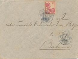Nederlands Indië - 1918 - 10 Cent Wilhelmina Op Cover Van LB SIAK SRI INDRAPOERA Via Postagent Singapore Naar Batavia - Niederländisch-Indien