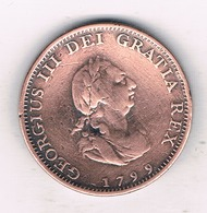 1 FARTHING  1799  GROOT  BRITANNIE /16/ - A. 1 Farthing