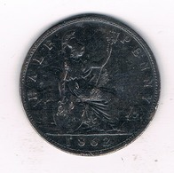HALF PENNY 1862  GROOT  BRITANNIE /18/ - 1816-1901 : Muntslagen XIX° Eeuw