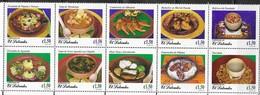 EL SALVADOR,1998, MNH, FOOD, TYPICAL EL SALVADOR DISHES, SEAFOOD, PRAWNS, SOUPS,  FRUIT, RICE, 10v , FOLDED STRIP - Alimentazione
