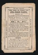 ANNA CLAEYS - BEERNEM - AALTER 1845  64 JAAR OUD - Avvisi Di Necrologio