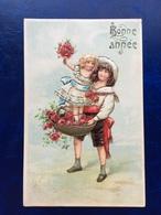 """Cpa--gaufrée-""""Petite Soeur Dans Le Panier De Fleurs""""--(my Ref 294)-1908 - New Year"""