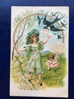 """Cpa--gaufrée-""""Souvenir De Printemps-hirondelles""""--(my Ref 299)-1909 - Cartes Postales"""