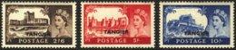 "1955-(MNH=**) Morocco Tangier S.3v.""Castelli, Elisabetta II"" - Deutsche Post In Marokko"