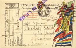 1919- Cartolina In Franchigia Con Annullo Di Posta Militare Concentramento Sezione E.R.e Bollo Verificato Per Censura - Guerra 1914-18