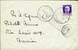 1942- Busta Affr. 50c. Imperiale Con Annullo Della R.N. Littorio Del 18 Aprile, Bolli Di Censura - Marcofilía