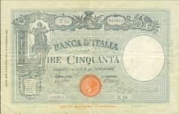 1943- Biglietto Di Banca L. 50 Barbetti-Testina-B.I. Data 8 Ottobre Firme Azzolini/Urbini Stato Di Conservazione BB-SPL - [ 1] …-1946 : Regno