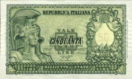 1951- Lire 50 Italia Elmata Con Leggera Increspatura Della Carta, Banconota Non Circolata - [ 2] 1946-… : Repubblica
