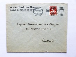SUISSE / SCHWEIZ / SWITZERLAND // 1916, Bank Brief, Mit 10Rp. PRO JUVENTUTE 1916, BERN 18.XII.1916 > RIEDTWIL - Covers & Documents