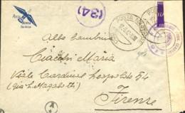 1942- Busta Per Via Aerea Con Annullo Di Posta Militare N. 550 Del 17 Settembre,fascetta Di Censura E Bolli Prelevata E - Storia Postale