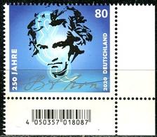 BRD - Mi 3513 ECKE REU - ** Postfrisch (E) - 80C             Ludwig Van Beethoven - Ausgabe 02.01.2020 - Unused Stamps