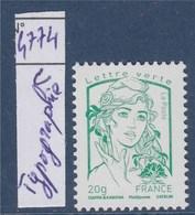 = Marianne Et La Jeunesse Gommée Lettre Verte TVP 20g N°4774c Neuf Typographie Du Feuillet Multitechnique - 2013-... Marianne Van Ciappa-Kawena
