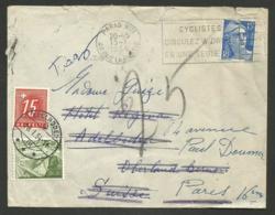 Lettre De FRANCE Pour ADELBODEN Taxée 25 CHF / Janvier 1954 - Lettres & Documents