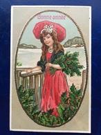 "Cpa--gaufrée-""Belle Fille Souriante-chapeau-hiver""--(my Ref 312)-1910 - New Year"