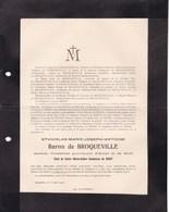 AALST MOLL Stanislas Baron De BROQUEVILLE 1830-1919 GYSEGEM Château De POSTEL De BRIEY - Décès
