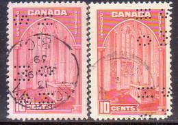 1939 CANADA SG O126,a 10c Both Shades Used Postage Due - Perfins