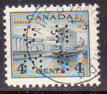 1942-43 CANADA SG O141 4c Slate Used Postage Due War Effort - Perfins