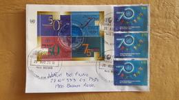 Enveloppe Argentine Distribuée Avec Timbres Et Bloc ONU - Argentina