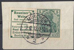 TERZO REICH - Germania 5 Pf Verde Con Associata Vignetta Pubblicitaria Michel R11, Usati, Su Frammento Di Busta. - Abarten